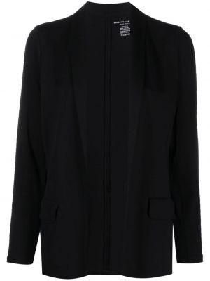 Черный удлиненный пиджак с лацканами из вискозы Majestic Filatures