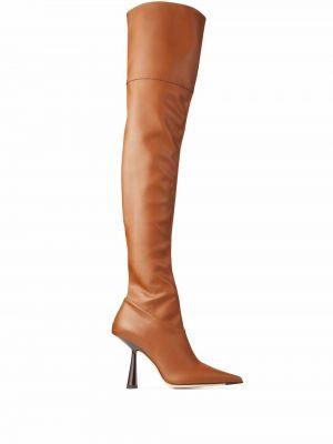 Кожаные ботфорты - коричневые Jimmy Choo