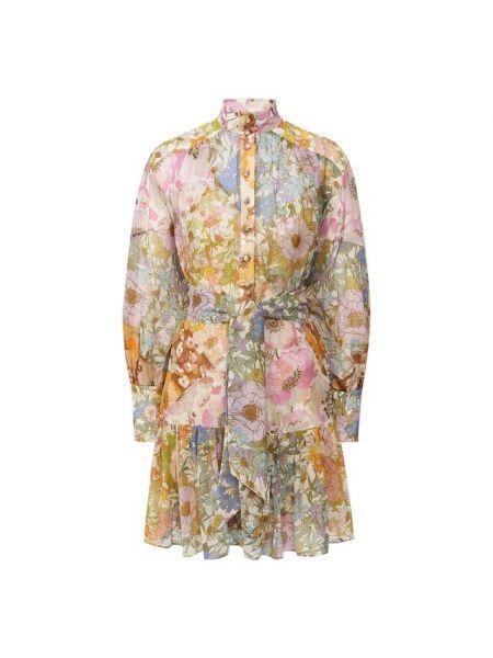 Платье мини с цветочным принтом с поясом Zimmermann