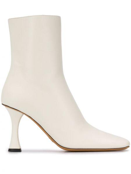 Biały buty na pięcie z prawdziwej skóry plac kwadratowy Proenza Schouler