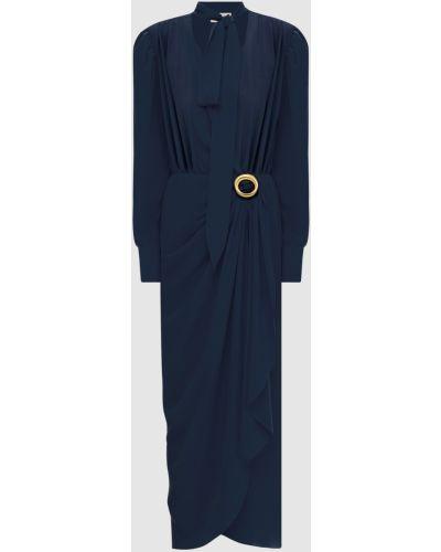 Шелковое синее платье макси с драпировкой Lanvin