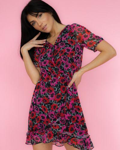 Розовое шифоновое платье мини в цветочный принт Clew