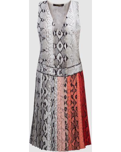 Серое шелковое платье мини Roberto Cavalli
