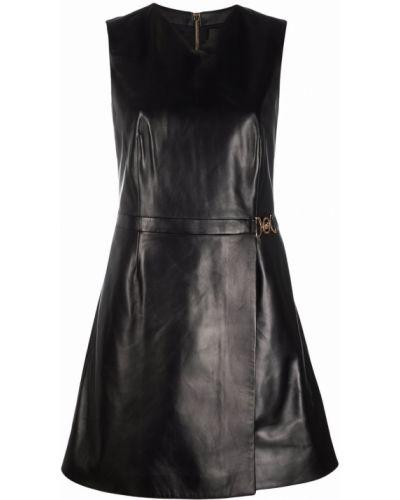 Платье мини с V-образным вырезом - черное Versace