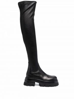 Кожаные сапоги - черные Versace
