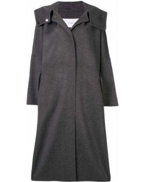 Прямое шерстяное пальто с капюшоном айвори с капюшоном Le Ciel Bleu