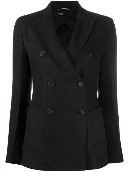 Классическая черная куртка с воротником двубортная Weekend Max Mara