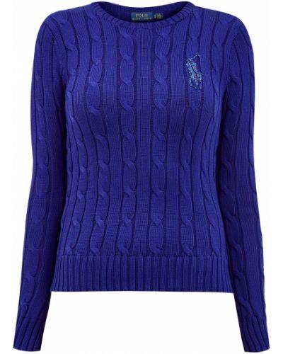 Облегающий хлопковый синий вязаный джемпер с вышивкой Polo Ralph Lauren