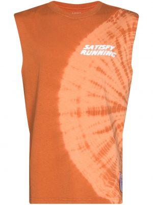 Pomarańczowa T-shirt z nadrukiem bawełniana Satisfy