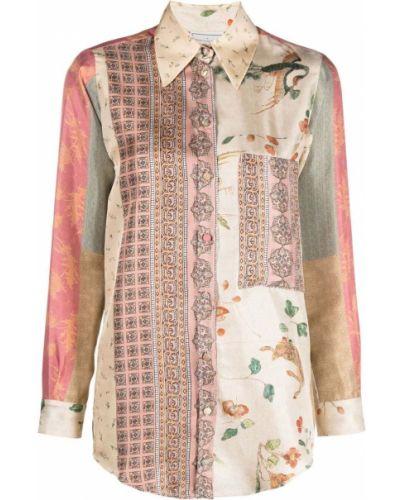 Шелковая классическая рубашка с воротником с карманами Pierre-louis Mascia
