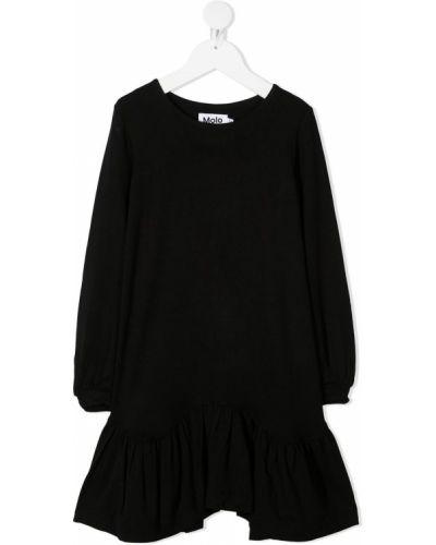Черное платье с рукавами круглое из вискозы с круглым вырезом Molo