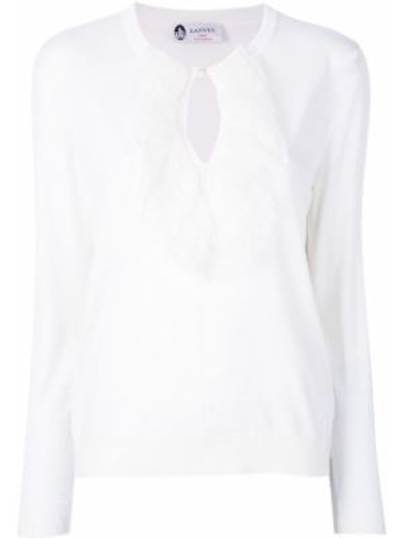 Ажурный белый шерстяной свитер Lanvin