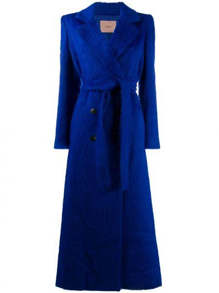 Синее пальто с поясом из мохера с воротником Twin-set