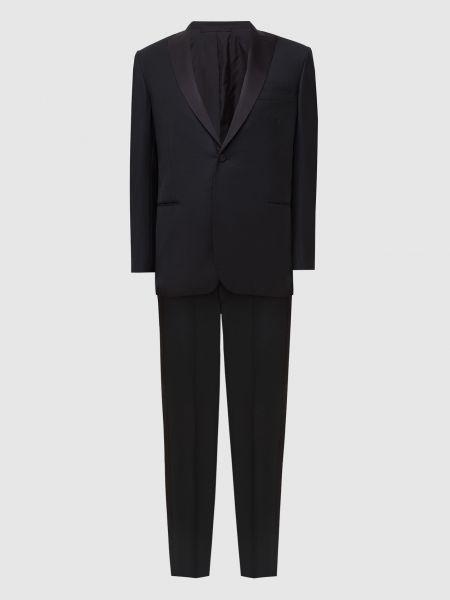 Костюмный шерстяной черный костюм Brioni