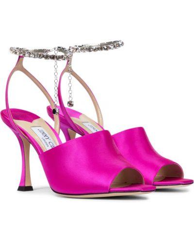Różowy skórzany sandały z ozdobnym wykończeniem Jimmy Choo
