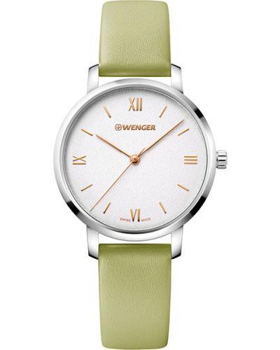 Часы на кожаном ремешке кварцевые водонепроницаемые Wenger