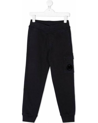 Спортивные синие спортивные брюки в рубчик с карманами Cp Company Kids