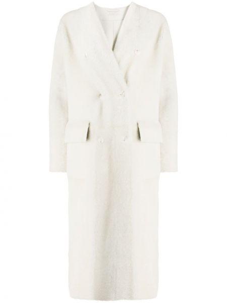 Белое прямое длинное пальто с карманами с V-образным вырезом Inès & Maréchal