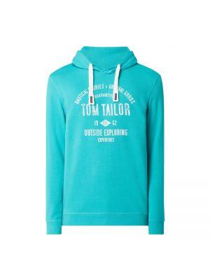 Bluza z kapturem bawełniana turkusowa Tom Tailor