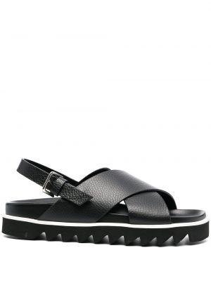 Открытые черные кожаные сандалии P.a.r.o.s.h.
