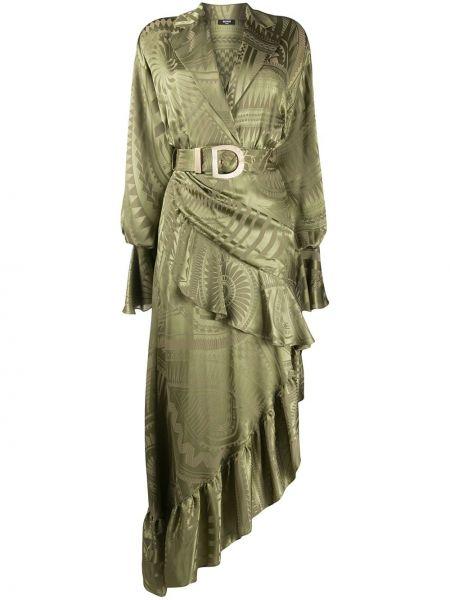 Асимметричное платье с V-образным вырезом с оборками на молнии Balmain