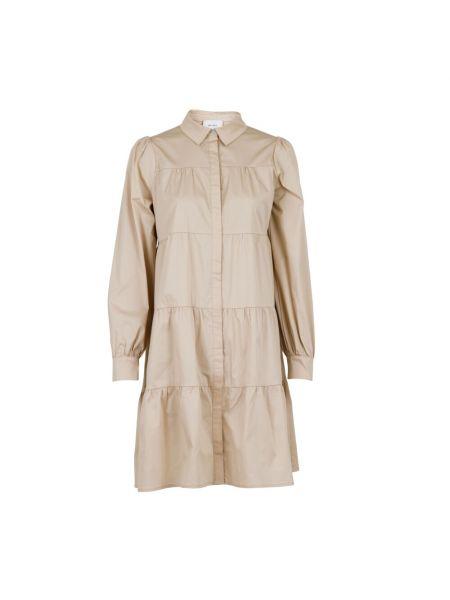 Biała sukienka w paski z długimi rękawami Neo Noir