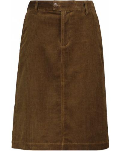 Коричневая юбка миди вельветовая A.p.c.