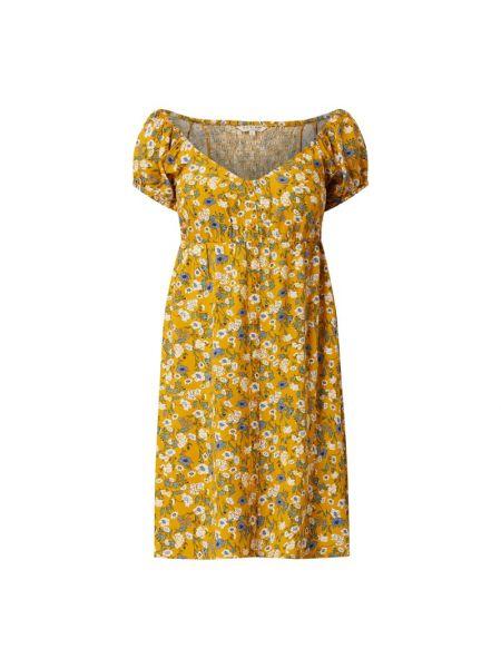Żółta sukienka mini rozkloszowana z wiskozy Review