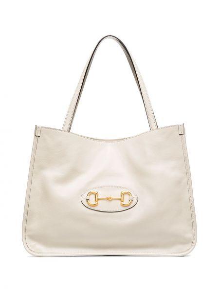 Biały torba na ramię z prawdziwej skóry Gucci