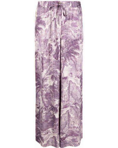Фиолетовые прямые брюки из вискозы Pierre-louis Mascia
