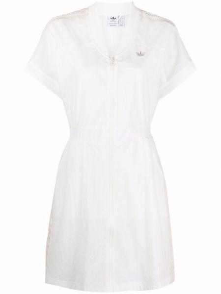 Белое платье мини с поясом с вырезом Adidas