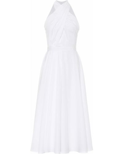Хлопковое ватное белое платье миди Alexander Mcqueen