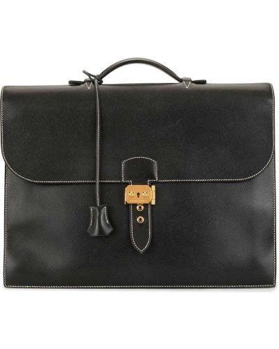 Черный портфель с карманами из натуральной кожи Hermes