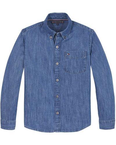 Niebieska koszula jeansowa elegancka Tommy Hilfiger