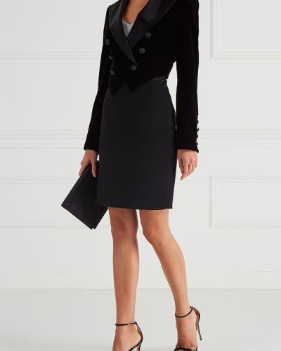 Шерстяная черная юбка карандаш с поясом Maison Bohemique