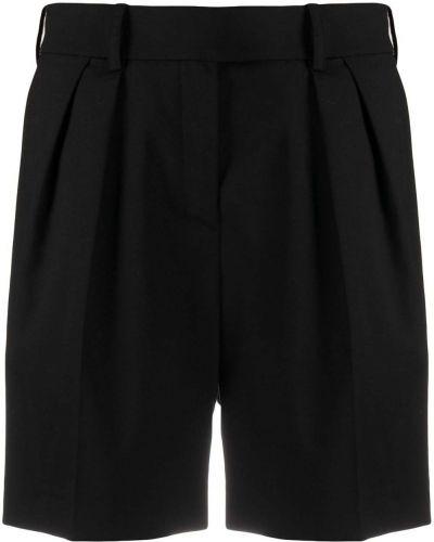 Плиссированные шерстяные черные шорты Alexandre Vauthier