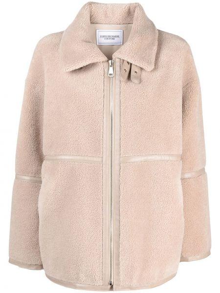 Beżowy długi płaszcz wełniany z długimi rękawami Forte Dei Marmi Couture