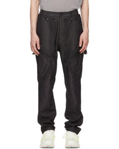 Czarne spodnie z paskiem bawełniane Blackmerle