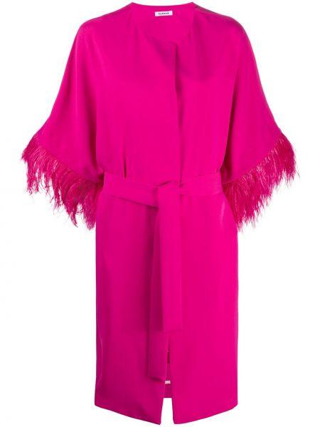 Пальто розовое с опушкой P.a.r.o.s.h.