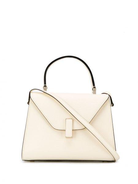 Кожаная белая сумка-тоут с карманами Valextra