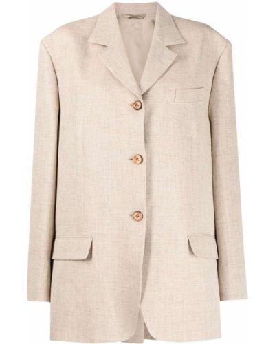Льняной однобортный коричневый удлиненный пиджак Acne Studios