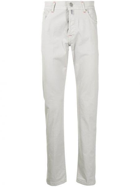 Прямые джинсы классические на молнии с нашивками Kiton