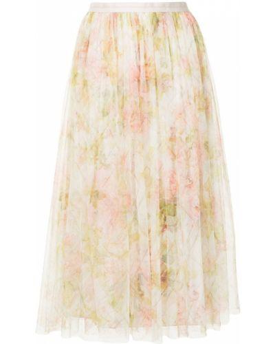 С завышенной талией желтая плиссированная юбка миди Needle & Thread