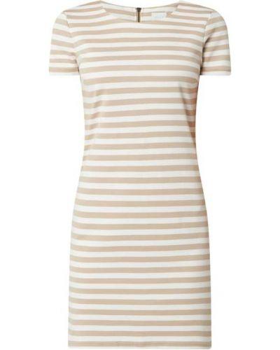 Beżowa sukienka w paski z wiskozy Vila