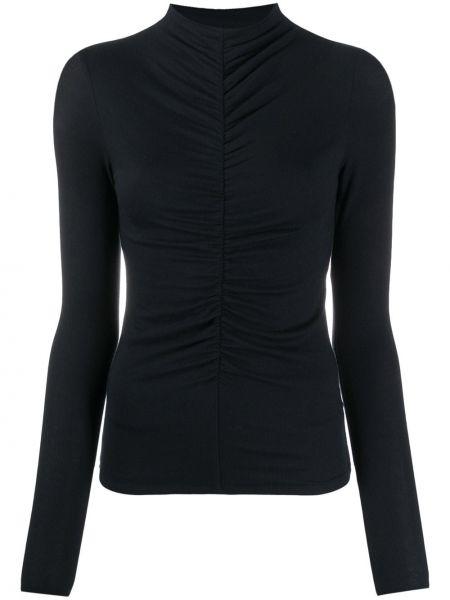 Черная прямая блузка с длинным рукавом с воротником с драпировкой Veronica Beard