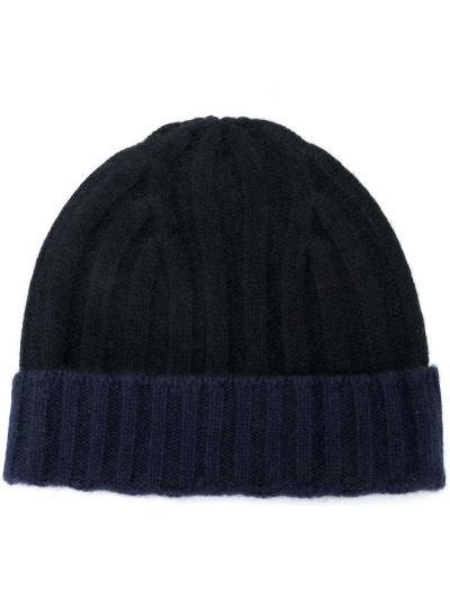 Синяя теплая шапка бини с отворотом в рубчик Warm-me