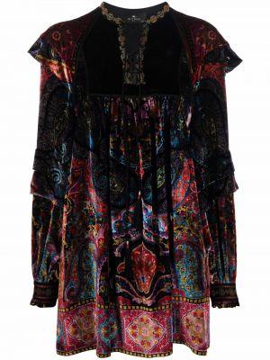 Шелковое платье макси - черное Etro