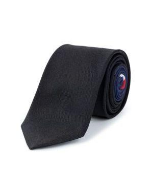 Czarny krawat z jedwabiu Tommy Hilfiger Tailored