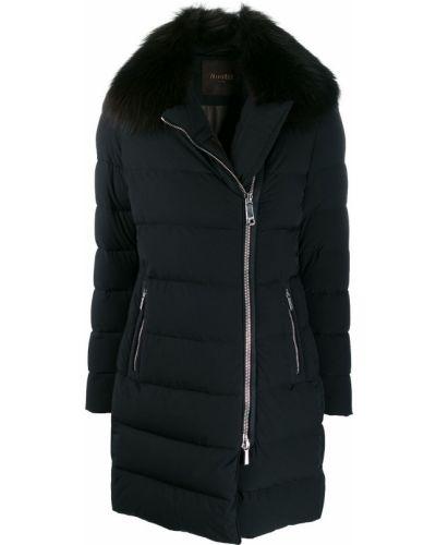 Синее пуховое длинное пальто с капюшоном Moorer