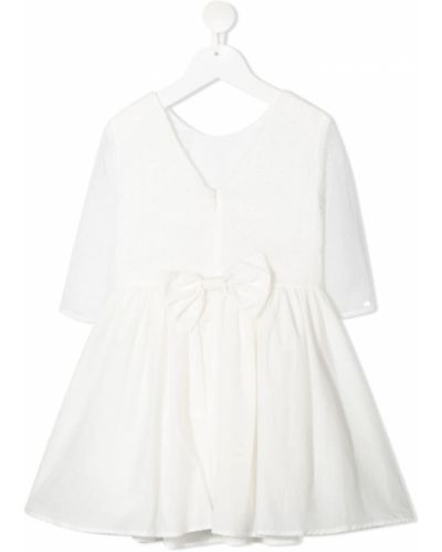 Biała sukienka długa z długimi rękawami z jedwabiu Charabia
